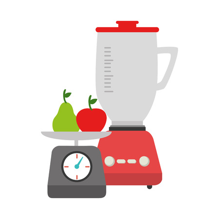 weight machine: colorful blender with kitchen weight scale and fruits vector illustration
