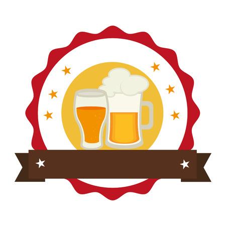jarra de cerveza: Sello circular con jarra de cerveza espumosa y taza de vidrio ilustración vectorial