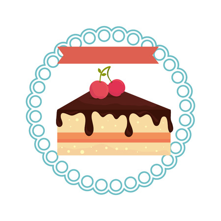 circular border with dessert with cream and cherry vector illustration