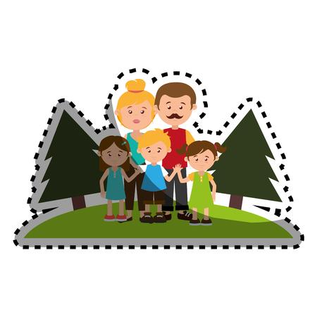 nucleus: sticker colorful landscape with family nucleus vector illustration