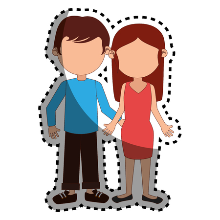 long hair boy: sticker colorful silhouette couple dressed party vector illustration