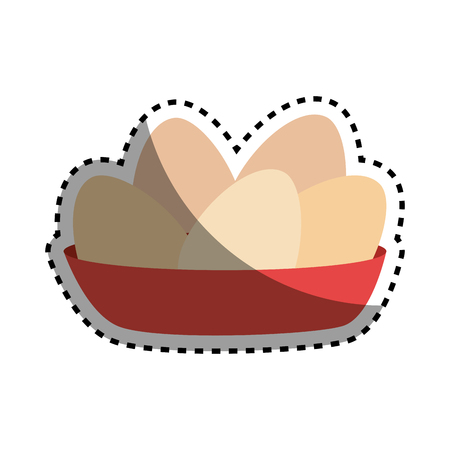 raw chicken: sticker full color dish with eggs vector illustration