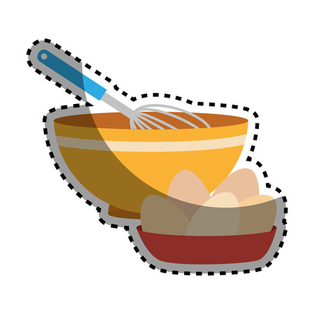 sticker set of colorful dish with hand beayer and eggs vector illustration Иллюстрация