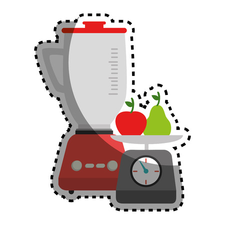 sticker colorful blender with kitchen weight scale and fruits vector illustration