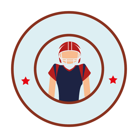 circular border with American football player vector illustration