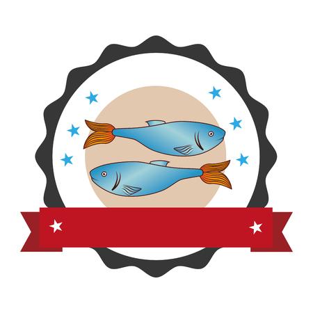 circular stamp with fish animal marine design and label vector illustration