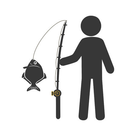 silhouette Fisherman with fishing rod vector illustration