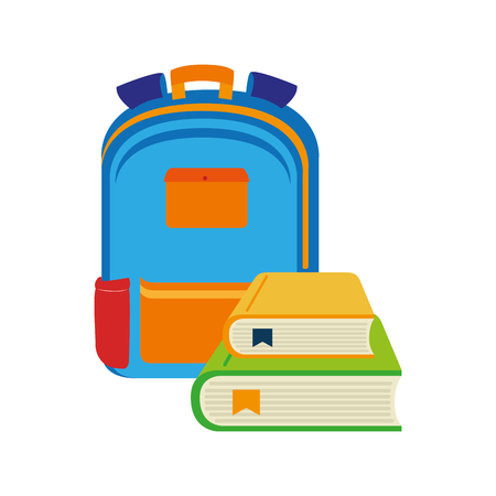 secondary: color silhouette with school briefcase and books vector illustration