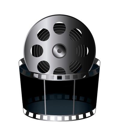 cinema reel film tape icon over white background. colorful design. vector illustration