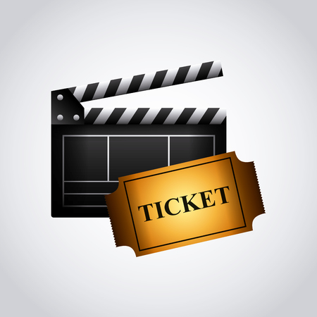 Clapboard and ticket icon over white background. colorful design. vector illustration