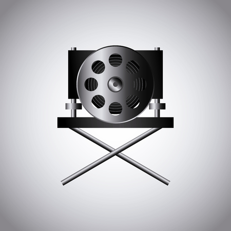 director chair: cinema reel film tape  and director chair icon over white background. colorful design. vector illustration Illustration