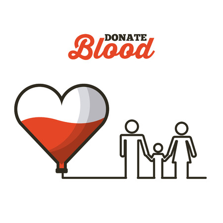 heart with blood and family  icon over white background. donate blood concept. colorful design. vector illustration