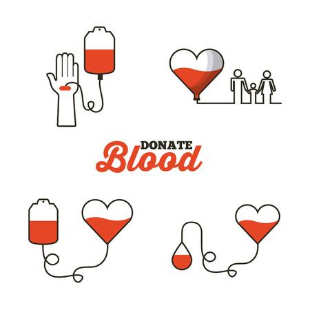 献血概念関連するアイコンを白い背景の上。カラフルなデザイン。ベクトル図