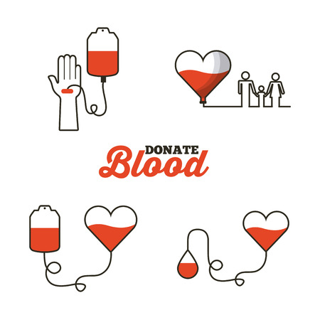 donate blood concept related icons over white background. colorful design. vector illustration