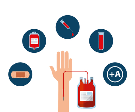transfusion: hand with blood bag and medical icons around over white background. donate blood icon set over white background. colorful design. vector illustration