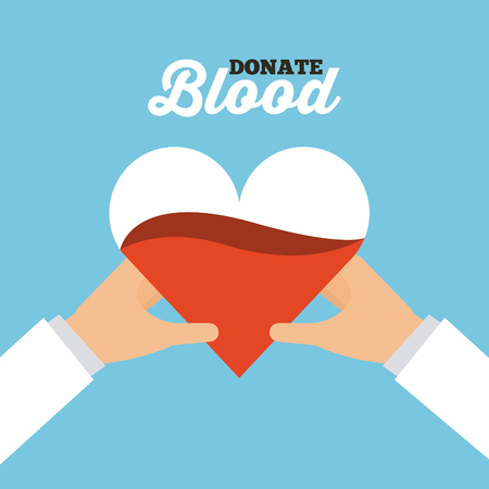 hands holding a heart with blood over blue background. donate blood concept. colorful design. vector illustration Illustration