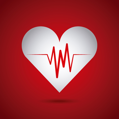 pulsating: cardio heart icon over red background. colorful design. vector illustration Illustration