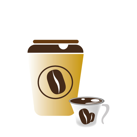 glass disposable for hot drinks with lid vector illustration