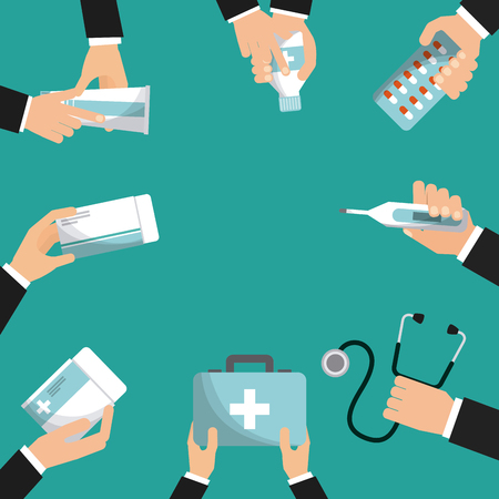 hands with medicine equipment of first aid over turquoise background. colorful design. vector illustration