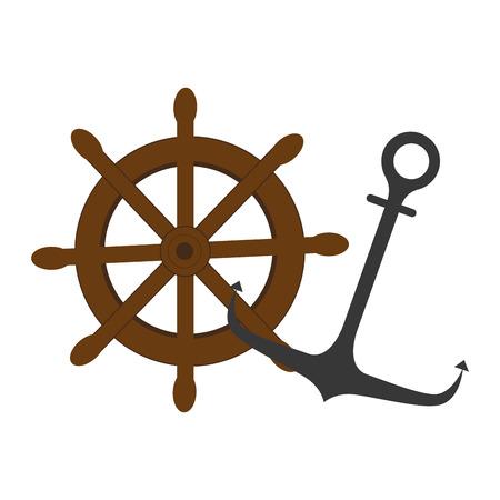 ruder: buntes Silhouette Boot Ruder und Anker Vektor-Illustration