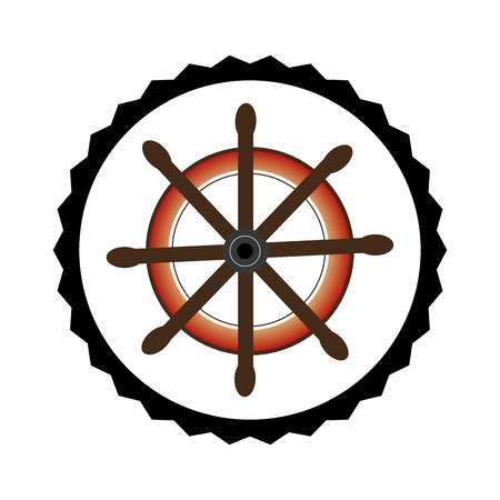 helm: stamp border with colorful boat helm vector illustration