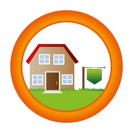 circular button with house two floor inside and plaque in pole vector illustration Illustration