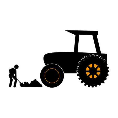 silhouette countryside tractor with pictogram male with shovel vector illustration