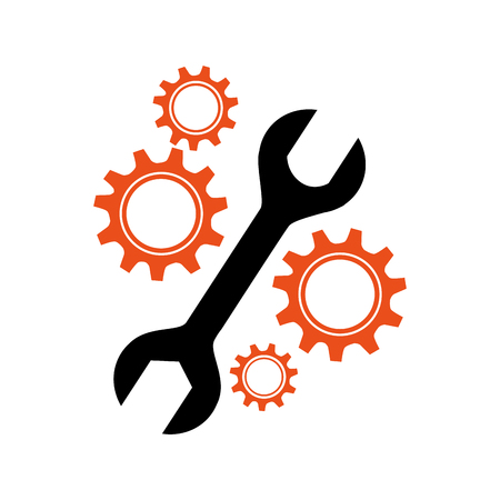 technics: silhouette gear wheel icon with Two headed wrench vector illustration Illustration