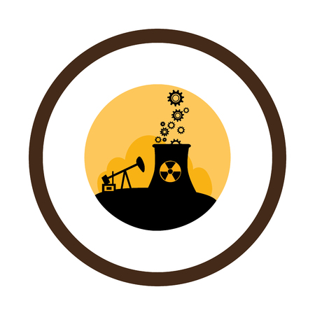 extraction: circular border with background silhouette oil extraction machine with factory radioactive materials vector illustration