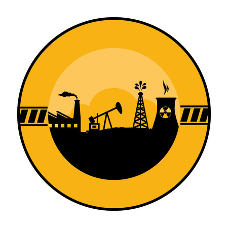 radiactividad: circular border with background silhouette oil extraction machine with factory radioactive materials vector illustration