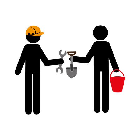 labourers: silhouette worker men with helmet and tools building vector illustration