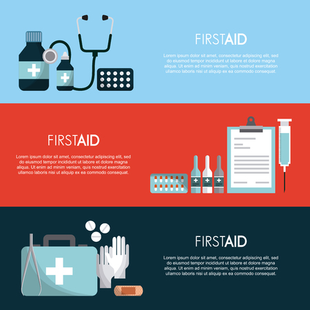 infographic presentation of first aid concept. colorful design. vector illustration