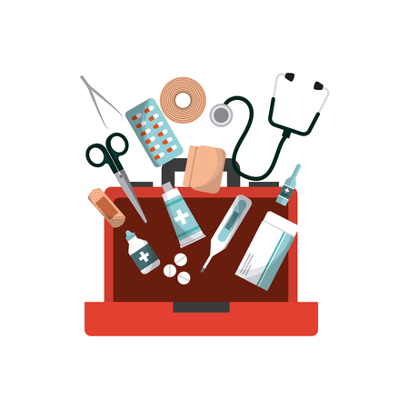 first aid box with medicine equipment over white background. colorful design. vector illustration Zdjęcie Seryjne - 71637404