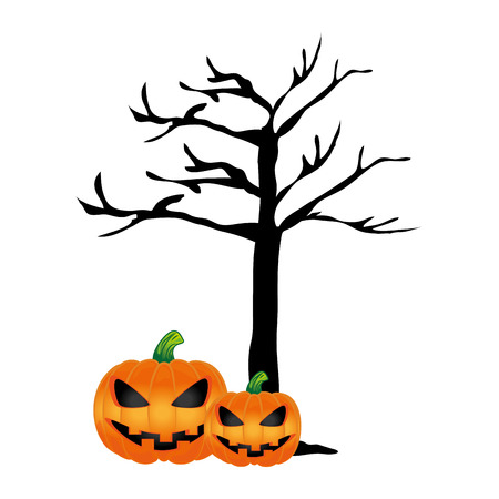 ghost house: Tree without leaves and halloween pumpkins vector illustration