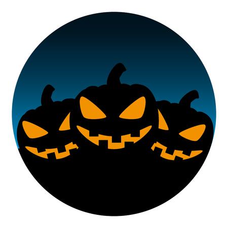circular frame with halloween pumpkins vector illustration