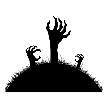 silhouette Zombie hands coming out of the ground vector illustration