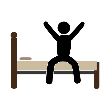 color pictogram with man in bed awake vector illustration Illustration
