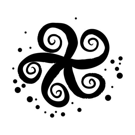 monochrome silhouette of octopus tentacles vector illustration Illustration