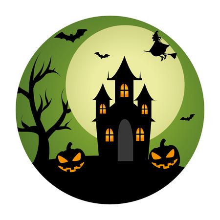 circular landscape of casttle in halloween night vector illustration
