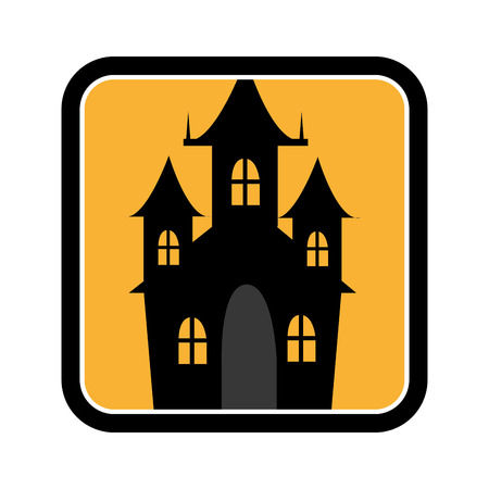 ghost house: square frame of halloween with scary casttle vector illustration Illustration