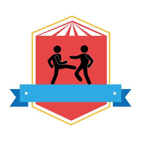 color emblem with ribbon and men martial arts kick vector illustration