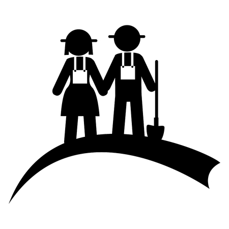 monochrome pictogram with couple of farmers vector illustration Illustration