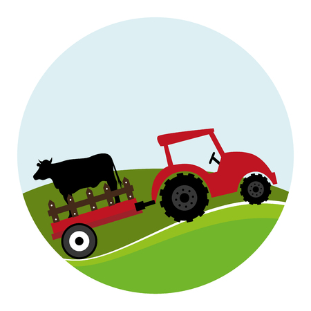 circular landscape and tractor with trailer with cow vector illustration