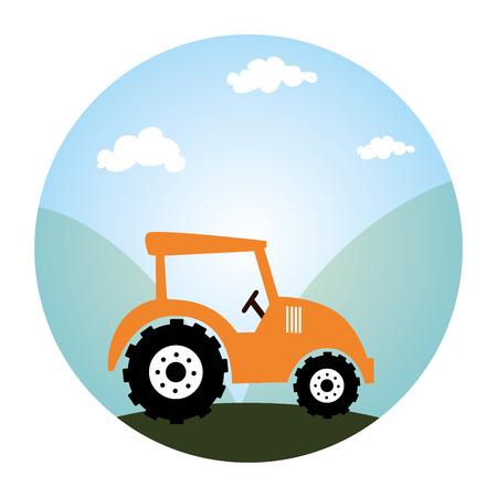 paysage circulaire et tracteur vecteur véhicule illustration Vecteurs