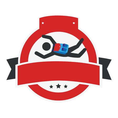 circular emblem with ribbon and skydiver vector illustration Illustration