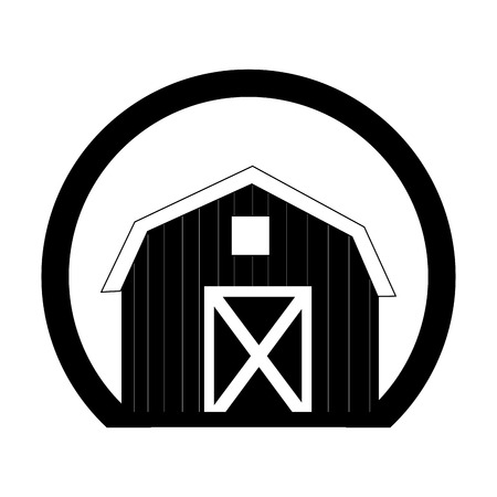 monochrome circular frame with barn of two floors vector illustration