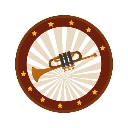 cornet: color circular frame with trumpet vector illustration