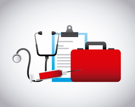 firstaid: first aid briefcase with medicine equipment icons over white background. colorful design. vector illustration Illustration