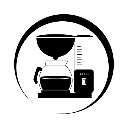 monochrome circular frame with coffee maker and glass jar vector illustration