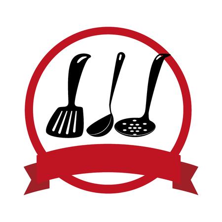circular emblem with spoon set vector illustration